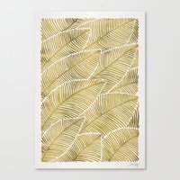 tropical Canvas Prints featuring Tropical Gold by Cat Coquillette