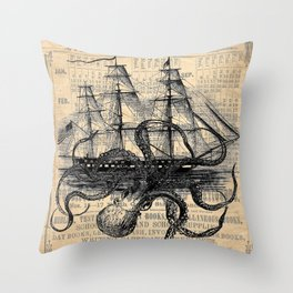 Octopus Kraken attacking Ship Antique Almanac Paper Throw Pillow