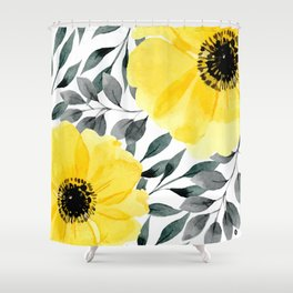 Big yellow watercolor flowers Shower Curtain