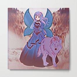 Wolf Princess Blue Faery Metal Print