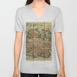 Map Of Antigua 1779 Unisex V-Neck
