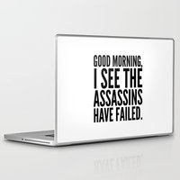 morning Laptop & iPad Skins featuring Good morning, I see the assassins have failed. by CreativeAngel
