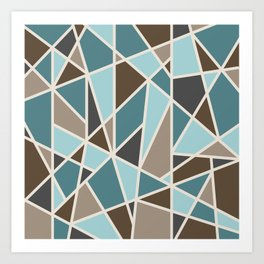 Geometric Design in Teal, Brown and Tan Art Print