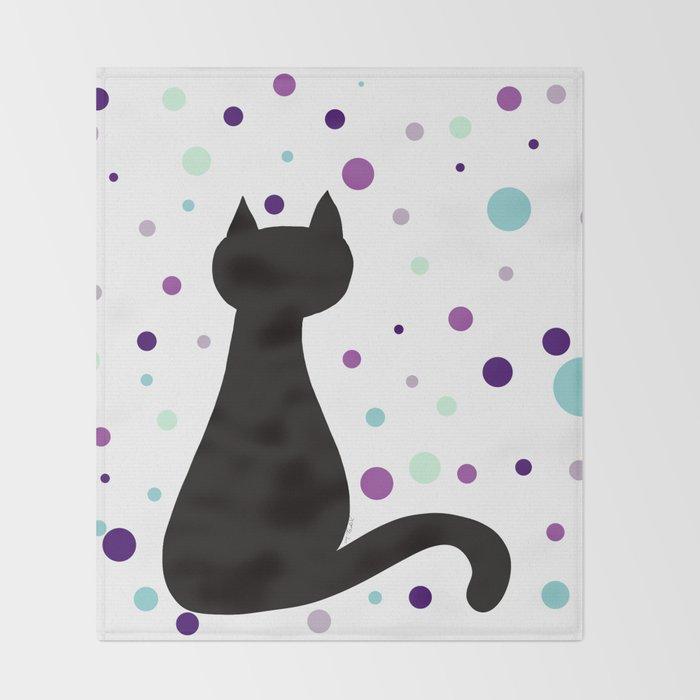 Black Cat Party! Throw Blanket