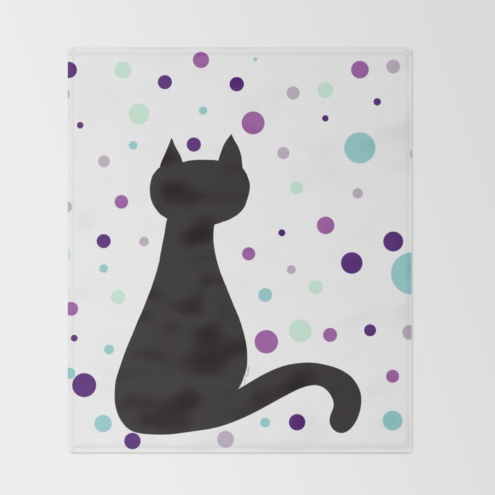 Black Cat Party! Throw Blanket