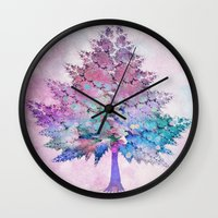 christmas tree Wall Clocks featuring Christmas Tree by Klara Acel