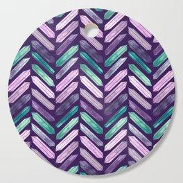 Love More Crystals Collection in Purple Chevron - Amethyst, Rose Quartz, Emerald Calcite, Rainbow Cutting Board