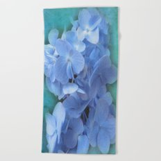 Blue Hydrangea on Green Beach Towel