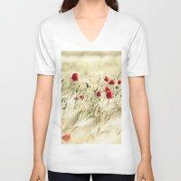poem V-neck T-shirts featuring A POPPY  POEM by Stephanie Koehl