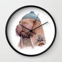 walrus Wall Clocks featuring Tattooed Walrus by Animal Crew