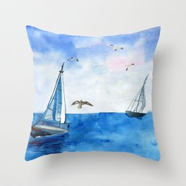 Boat trip on the yacht Throw Pillow