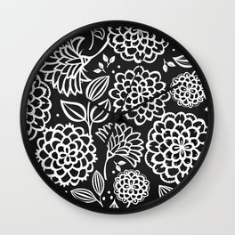 Pauli Floral Black and White Wall Clock