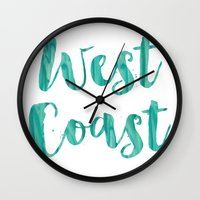west coast Wall Clocks featuring west coast by Huntleigh