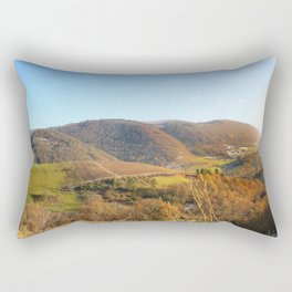 Panoramic of french hilly landscape in autumn season under sunlight Rectangular Pillow