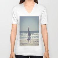 yoga V-neck T-shirts featuring Yoga  by L_Q.
