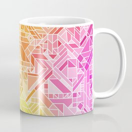 Bright Gradient (Hot Pink Orange Green Yellow Blue) Geometric Pattern Print Coffee Mug