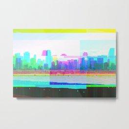 Glitched Miami City Scape  Metal Print