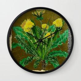 Antique Style Grundy Avocado Color Dandelion Print Art Wall Clock