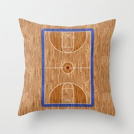 Wooden Basketball Court Throw Pillow