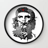 che Wall Clocks featuring CHE by Rebecca Bear