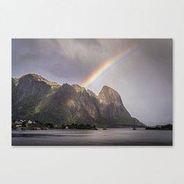 Mountain with rainbow Canvas Print