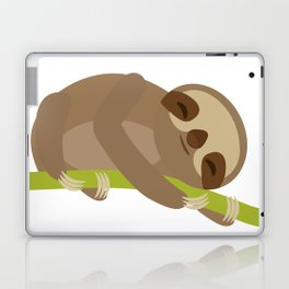 funny and cute Three-toed sloth on green branch Laptop & iPad Skin