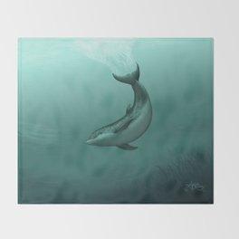 """Siren of the Lagoon"" by Amber Marine ~ Indian River Lagoon Bottlenose Dolphin Art, (Copyright 2015) Throw Blanket"