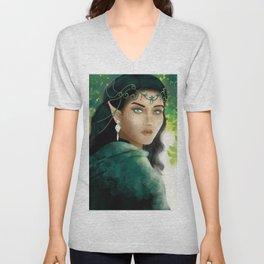 Forest Elf Girl Unisex V-Neck