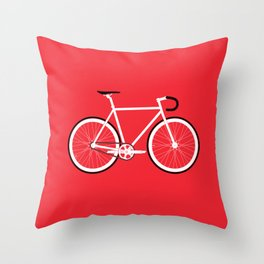 Red Fixed Gear Bike Throw Pillow