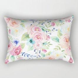 Blush pink watercolor elegant roses floral Rectangular Pillow