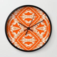 Modern Palm Leaves Pattern - orange and white Wall Clock