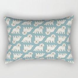 Bichon Frise Dog Pattern Green Rectangular Pillow