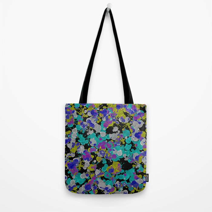 Dark Splatter - Abstract, paint splatter pattern in black, cyan, yellow, white and green Tote Bag