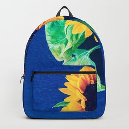 A decorative sunflower on the blue background Backpack