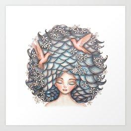 Claudette Head in the Clouds Art Print