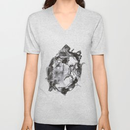 Chaotic Lines #1_b&w Unisex V-Neck