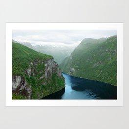 Mountains To The Sea (Geirangerfjord, Norway) Art Print