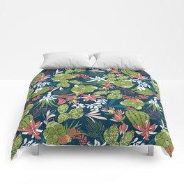 Succulent Garden Navy Comforters
