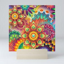 Vibrant Colors Floral Fractal Mini Art Print