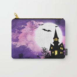Creepy Halloween Haunted Castle With Bats At Full Moon Ultra HD Carry-All Pouch