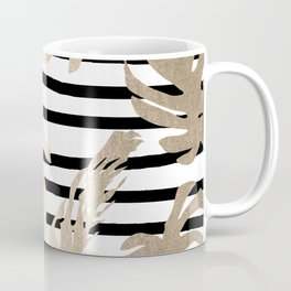 Simply Tropical White Gold Sands Palm Leaves on Stripes Coffee Mug