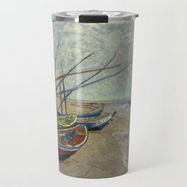 Fishing boats on the beach at Les Saintes-Maries-de-la-Mer Travel Mug