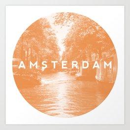 Orange Amsterdam Canals Art Print