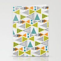mid century modern Stationery Cards featuring Geometric Mid Century Modern  Triangles by Ryan Deighton