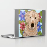 golden retriever Laptop & iPad Skins featuring Golden Retriever by ArtLovePassion