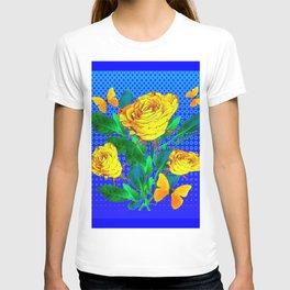 YELLOW BUTTERFLIES, ROSES, & BLUE OPTICAL ART T-shirt
