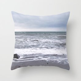 Cloudy Day on the Beach Throw Pillow