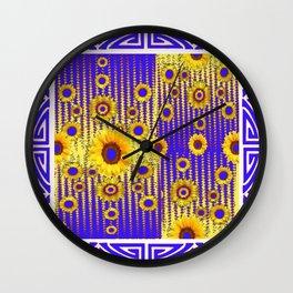 ART DECO GOLDEN SUNFLOWERS BLUE & WHITE ABSTRACT Wall Clock