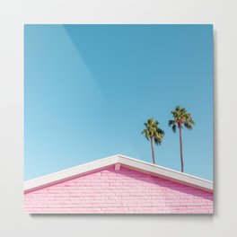 Pink House Roofline with Palm Trees (Palm Springs) Metal Print