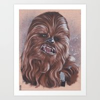 chewbacca Art Prints featuring Chewbacca  by bdevennyart